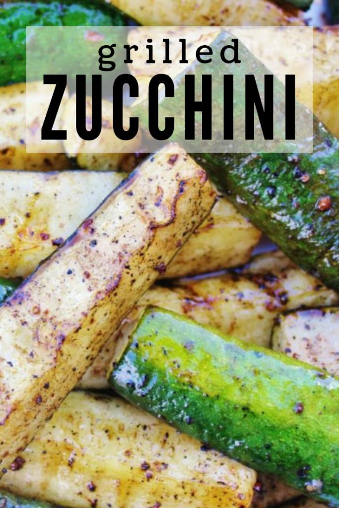 Sliced zucchini grilled and seasoned piled together.