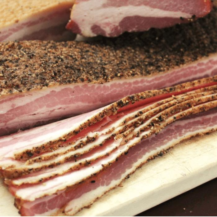 sliced peppered bacon