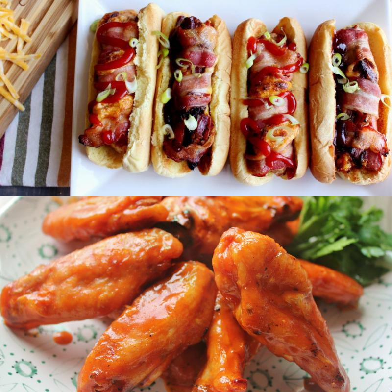 stuffed hot dogs and chicken wings
