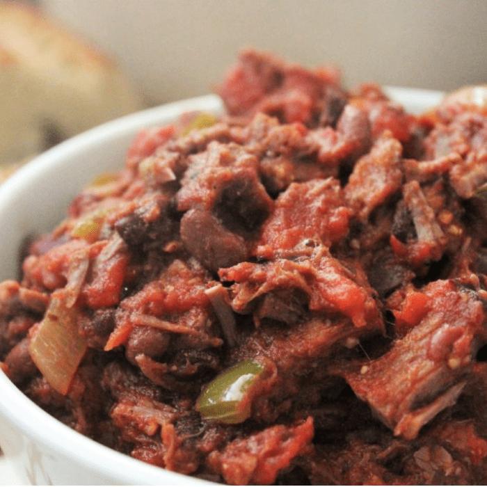 brisket chili in a bowl