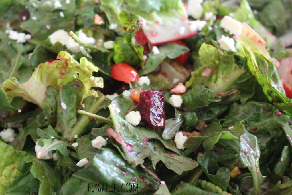 Salad topped with grilled beets.