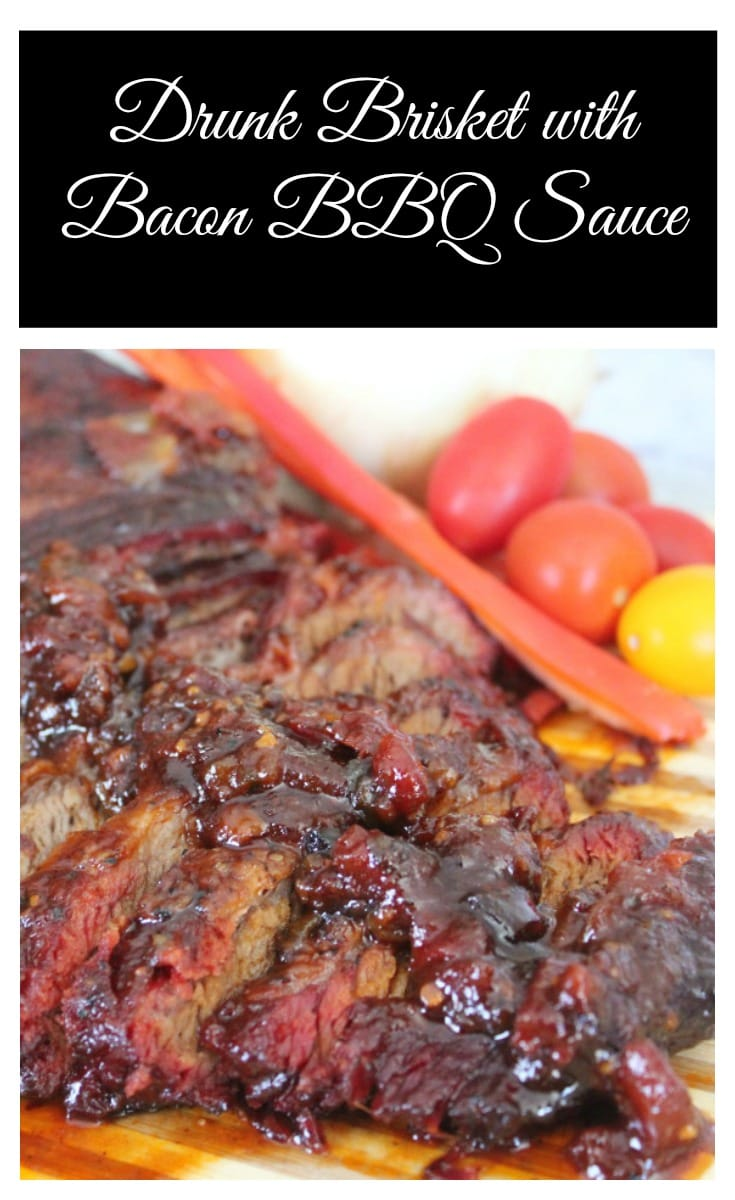 Sliced brisket covered in bacon barbecue sauce in a plate with cherry tomatoes