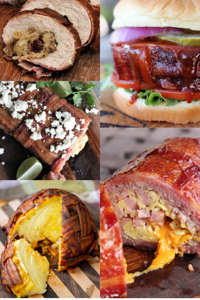 Collage of images with each photo showing a recipe with a bacon weave