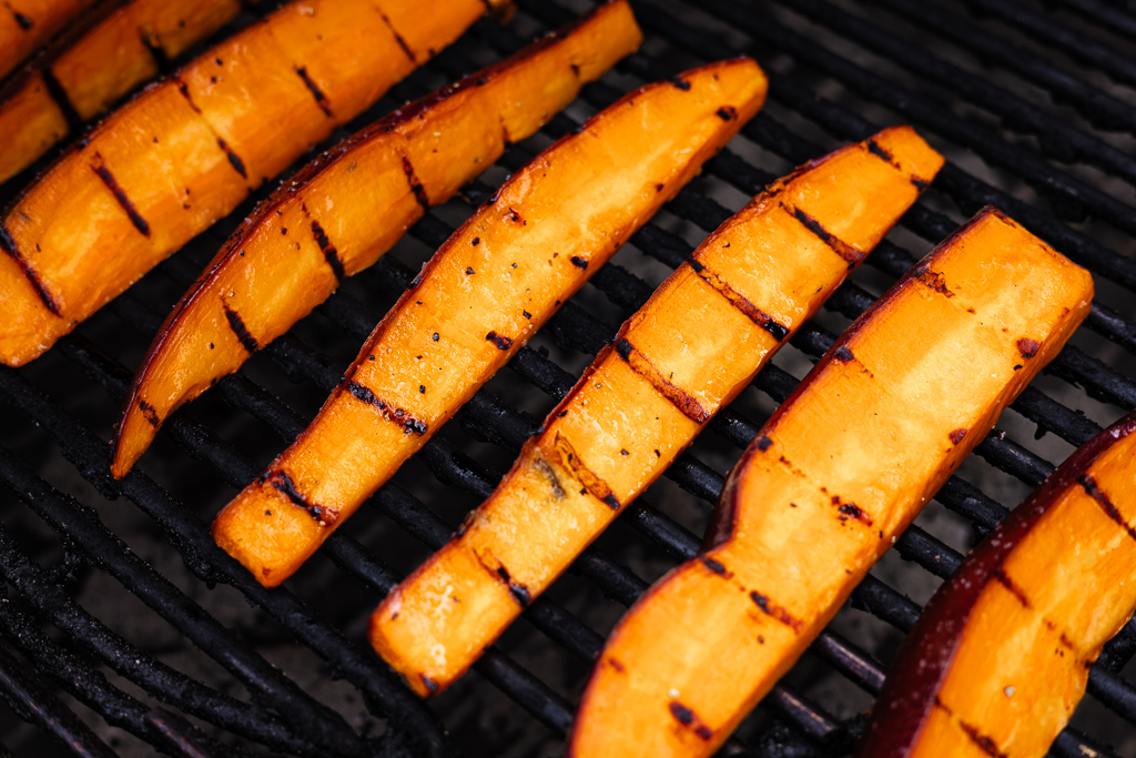 Sweet potato spears on the grill.
