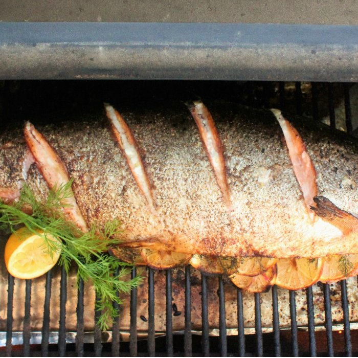 grilled whole salmon