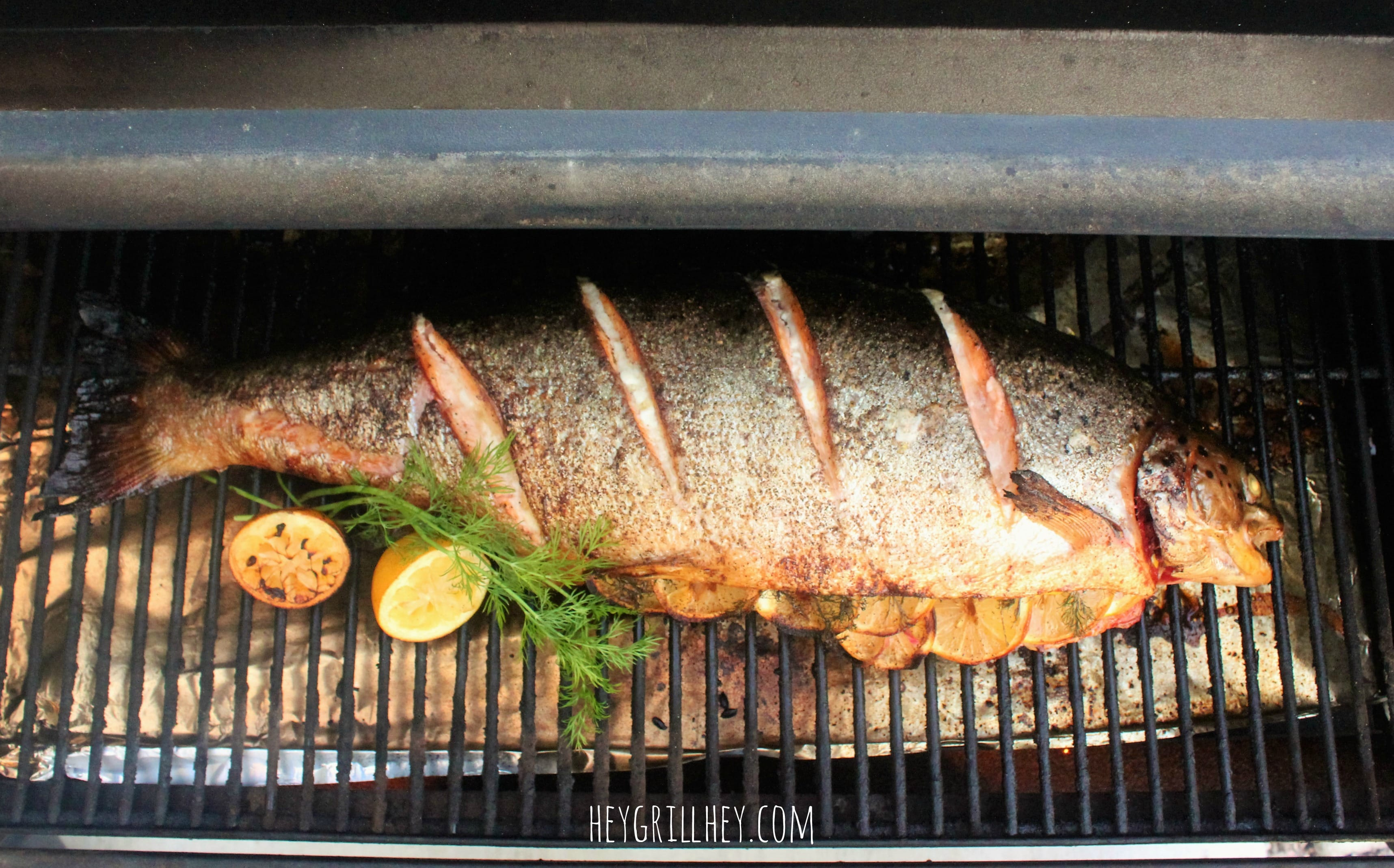 Grilled Whole Salmon on a grill seasoned and stuffed with lemon and herbs.