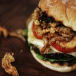 Sweet Bourbon Burgers with Onion Straws