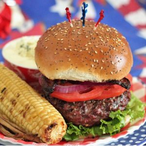 Red white and blue cheese stuffed burgers