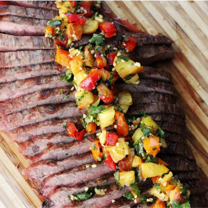 himalayan salted flank steak with grilled pineapple salsa