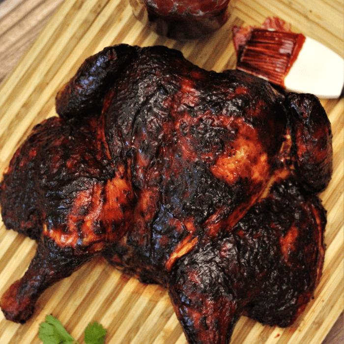 Spatchcock Smoked Chicken With Cherry Chipotle Bbq Sauce Hey Grill Hey