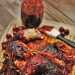 Spatchcock Smoked Chicken with Cherry Chipotle BBQ Sauce