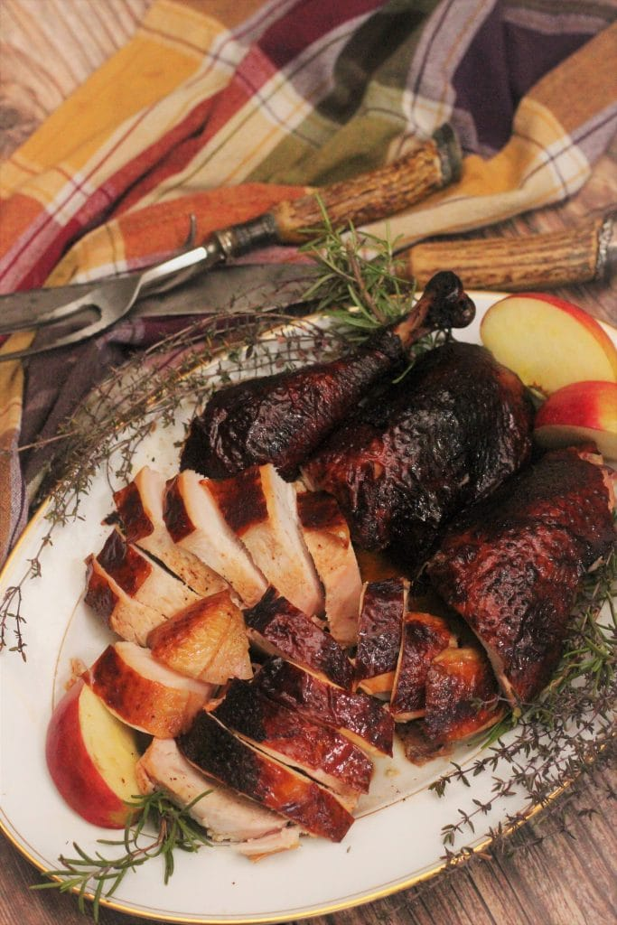 sliced smoked turkey on a serving platter.