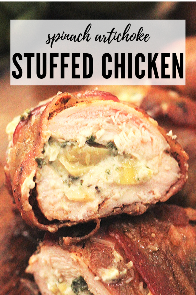 Cross section image of chicken breast stuffed with spinach artichoke filling wrapped in bacon