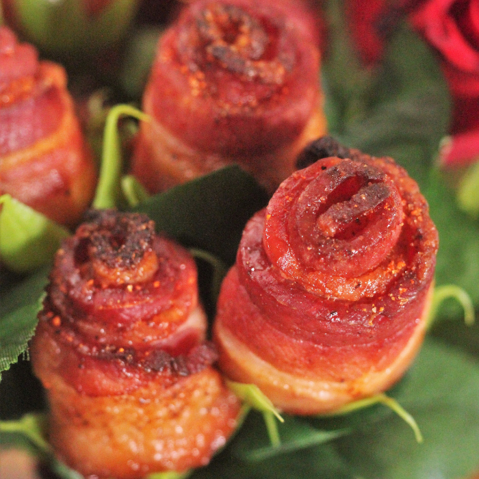 candied bacon roses