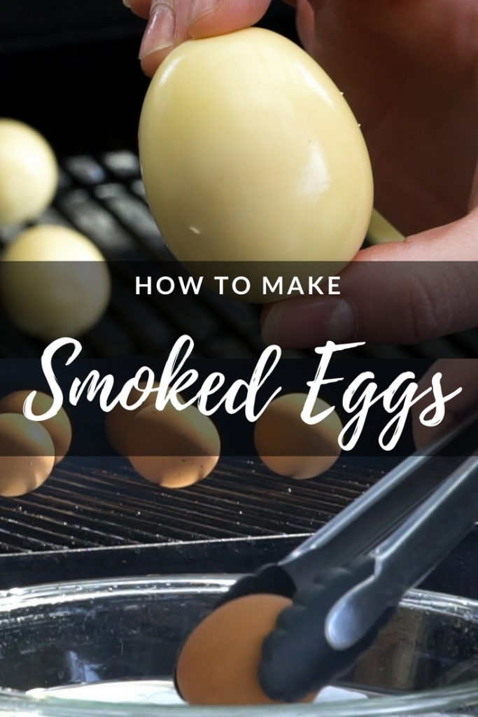 """Collage of photos of peeled eggs and unpeeled eggs being placed in a bowl of water with tongs. Text overlay reads """"How to Make Smoked Eggs."""""""