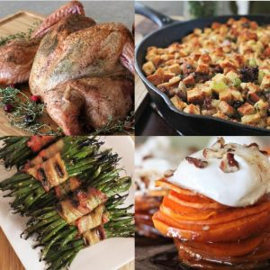 spatchcocked turkey, asparagus, candied sweet potatoes