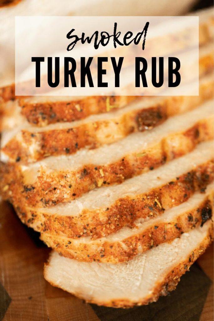 smoked turkey rub on sliced smoked turkey slices.