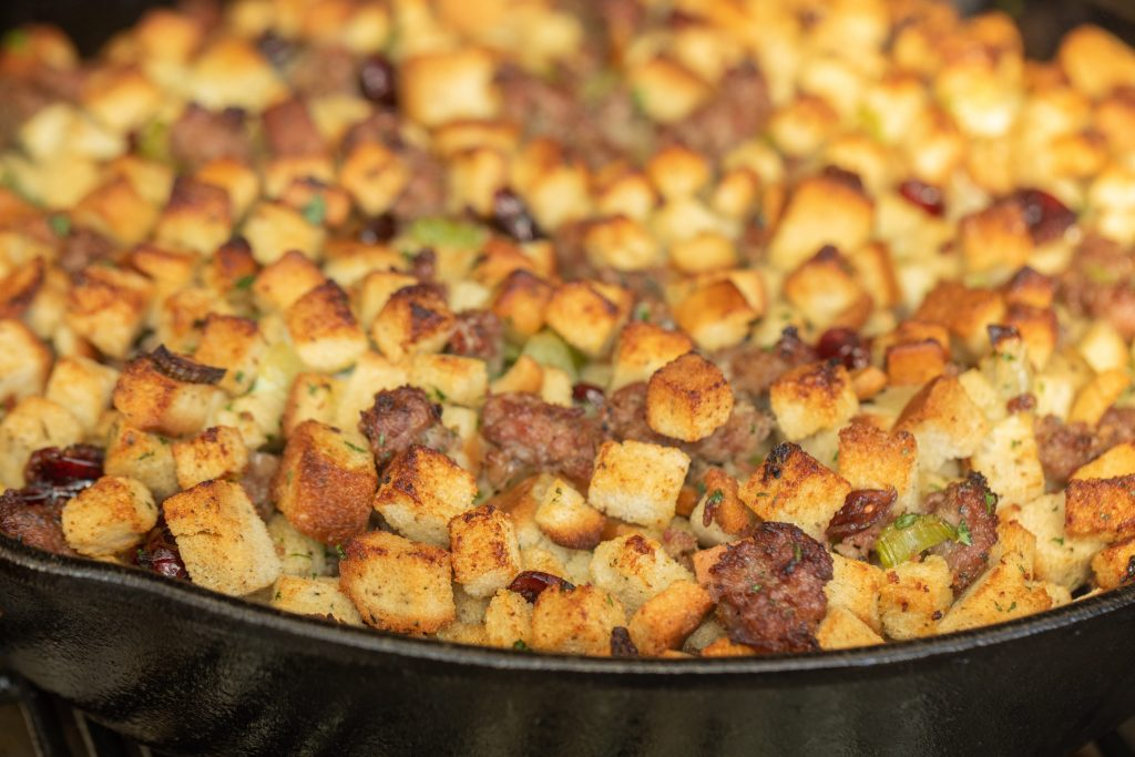 smoked stuffing in a cast iron skillet.