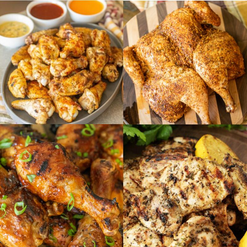 Four-image collage of grilled chicken wings, grilled spatchcock chicken, grilled chicken drumsticks, and grilled chicken thighs.