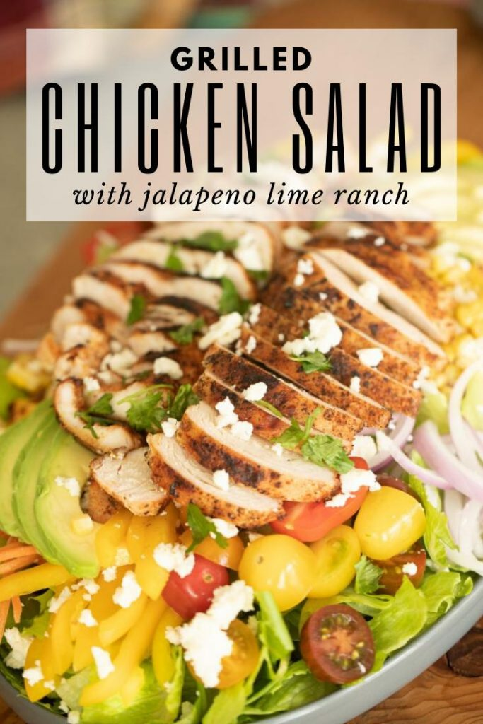 grilled chicken salad on a large serving dish with avocado, tomato, peppers, onions, and lettuce.