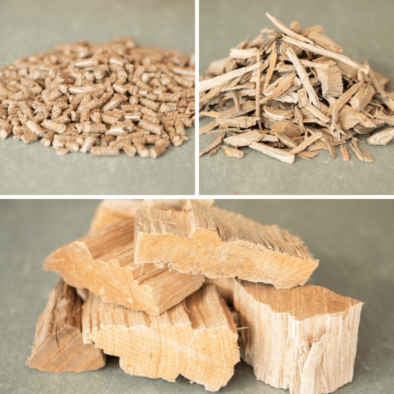 Three-image collage of wood pellets, chips, and chunks.