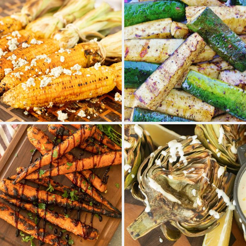 Four-image collage of grilled corn, zucchini, carrots, and artichokes.