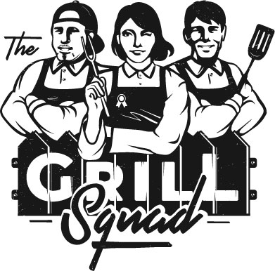 "The Grill Squad Logo with two men and one illustrated BBQ chefs behind the text ""The Grill Squad."""
