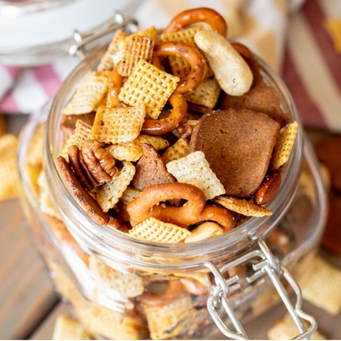 Smoked Chex mix in a hinged mason jar.