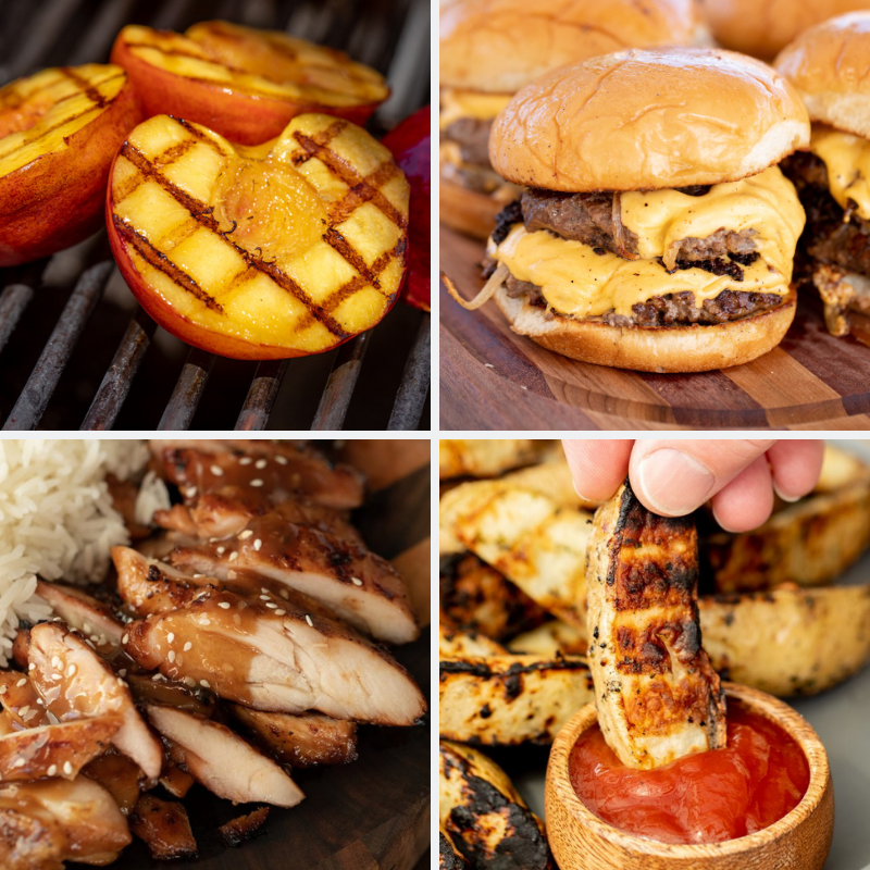 Four-image collage of grilled peaches, smash burgers, teriyaki chicken, and potato spears.