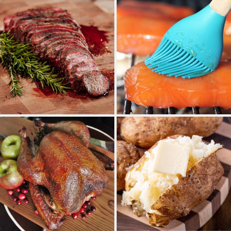 Four-image collage of smoked tri tip, hot smoked salmon, smoked turkey, and smoked baked potatoes.